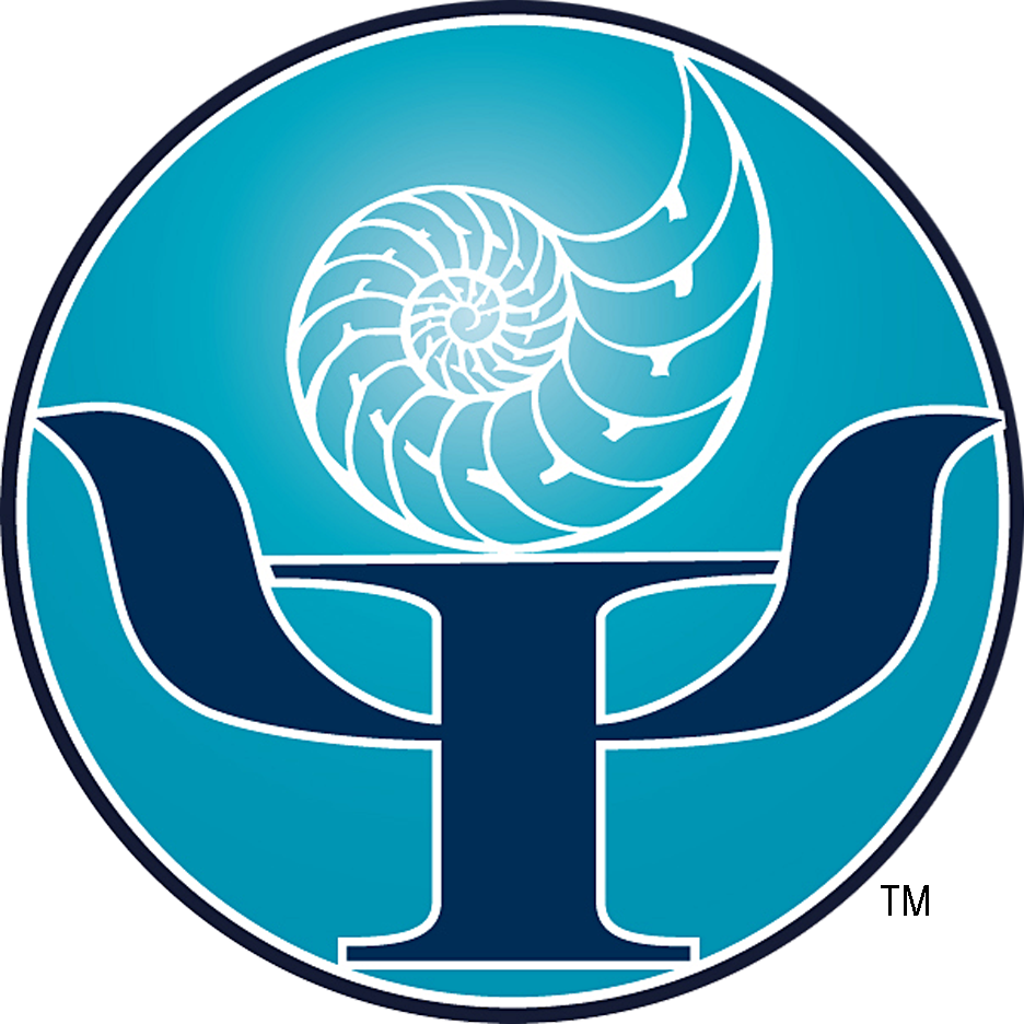 Ponte Vedra Psychologists Logo -- Nautilus Atop Greek Letter Psi
